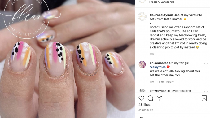 Nails art done by beaurician who is happy to be reopening after lockdown